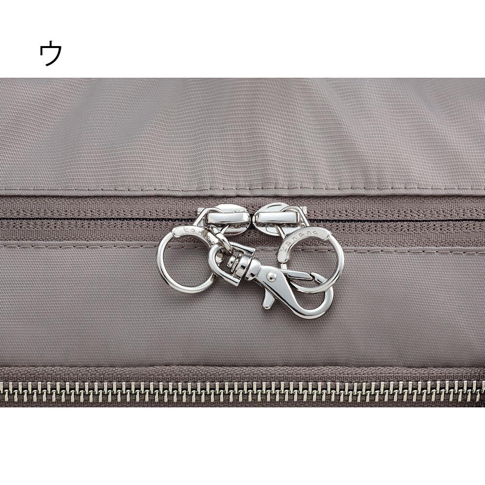 カナナプロジェクト容量が調整できる2WAYリュック(中サイズ) メインポケットにはセーフティロック付。不用意な開放を防ぎます。