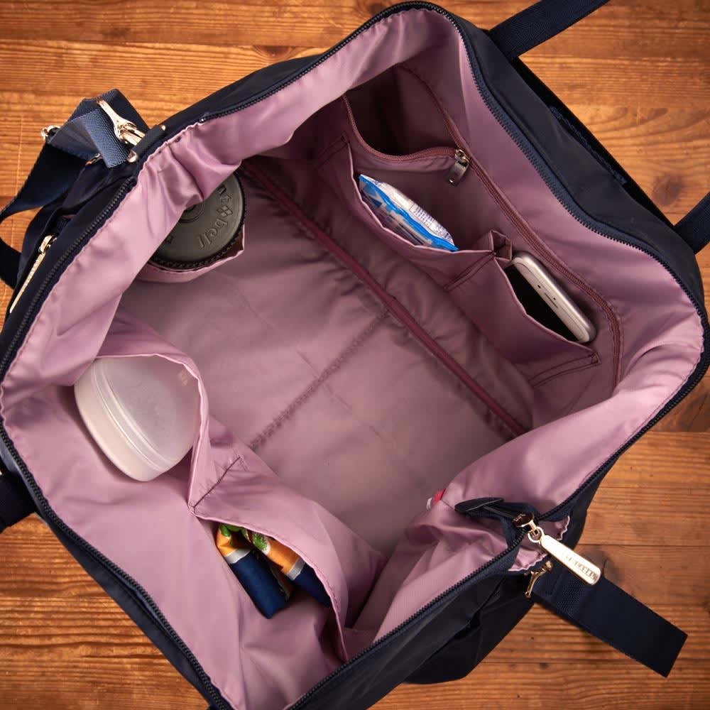 プライベートレーベル オリオールズ ボストンバッグ 内側には大小様々なポケット