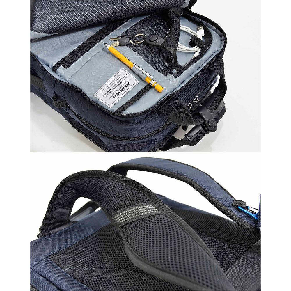 エンドー鞄/NEOPRO(ネオプロ) CONNECT スマホを充電USBポート搭載バックパック 前ポケットにはペン挿し、キーハーネスやコードホルダー等。/エアーメッシュのリュックベルト内側に滑り止め付き。