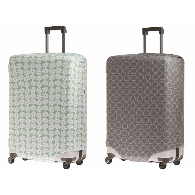 &P スーツケース/キャリーケースカバー (エ)グリーン(フラワー)、(オ)グレー(サークル) ※装着例