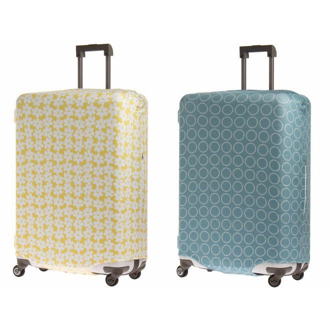 &P スーツケース/キャリーケースカバー (カ)イエロー(フラワー)、(キ)ブルー(サークル) ※装着例