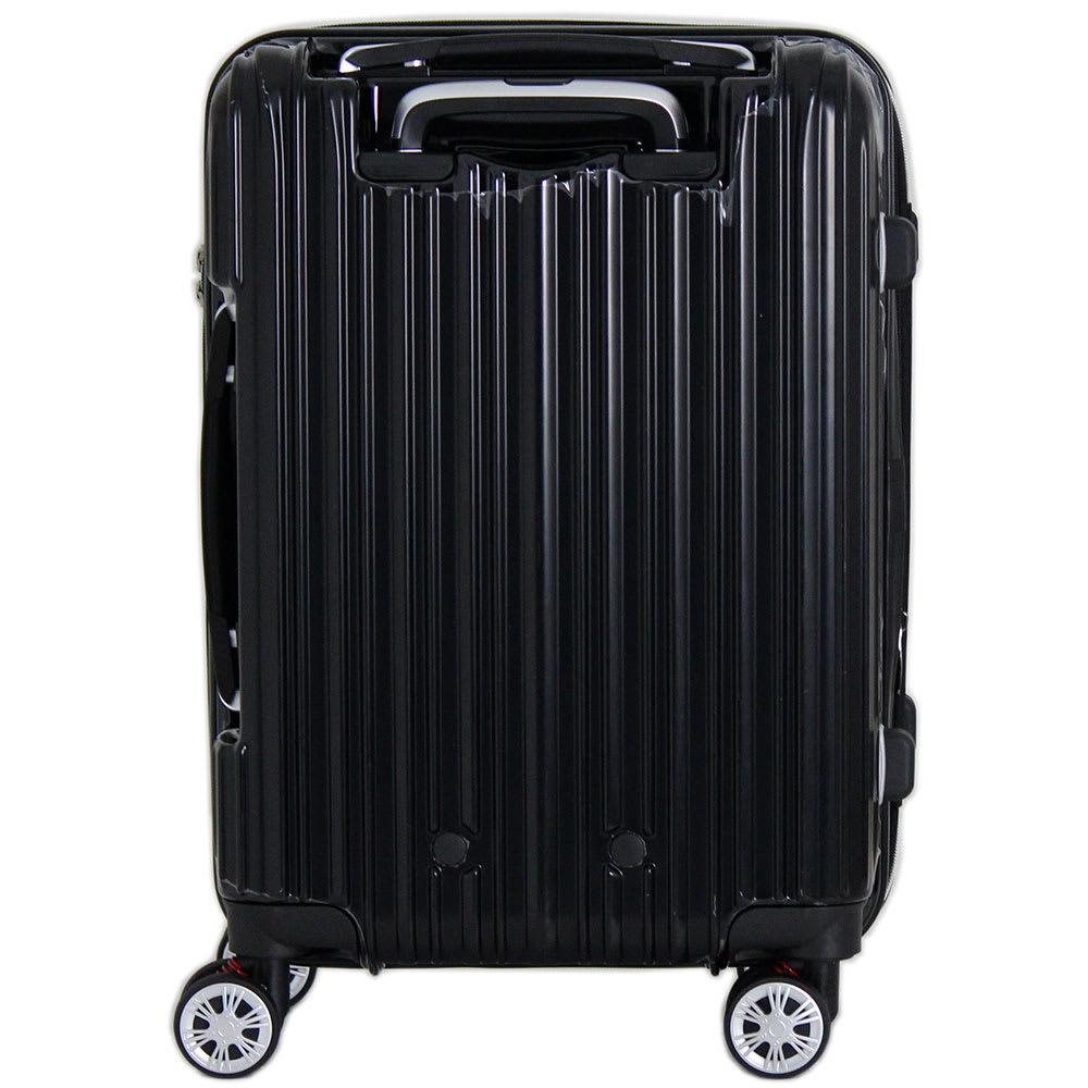 トライデント/拡張式ハードジッパースーツケース|キャリーケース・キャリーバッグ (イ)ブラック/Back