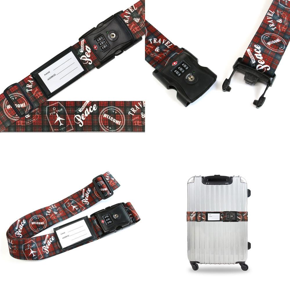 TSAロック付きスーツケースベルト 転写柄 (ウ)トラベルチェック柄レッド