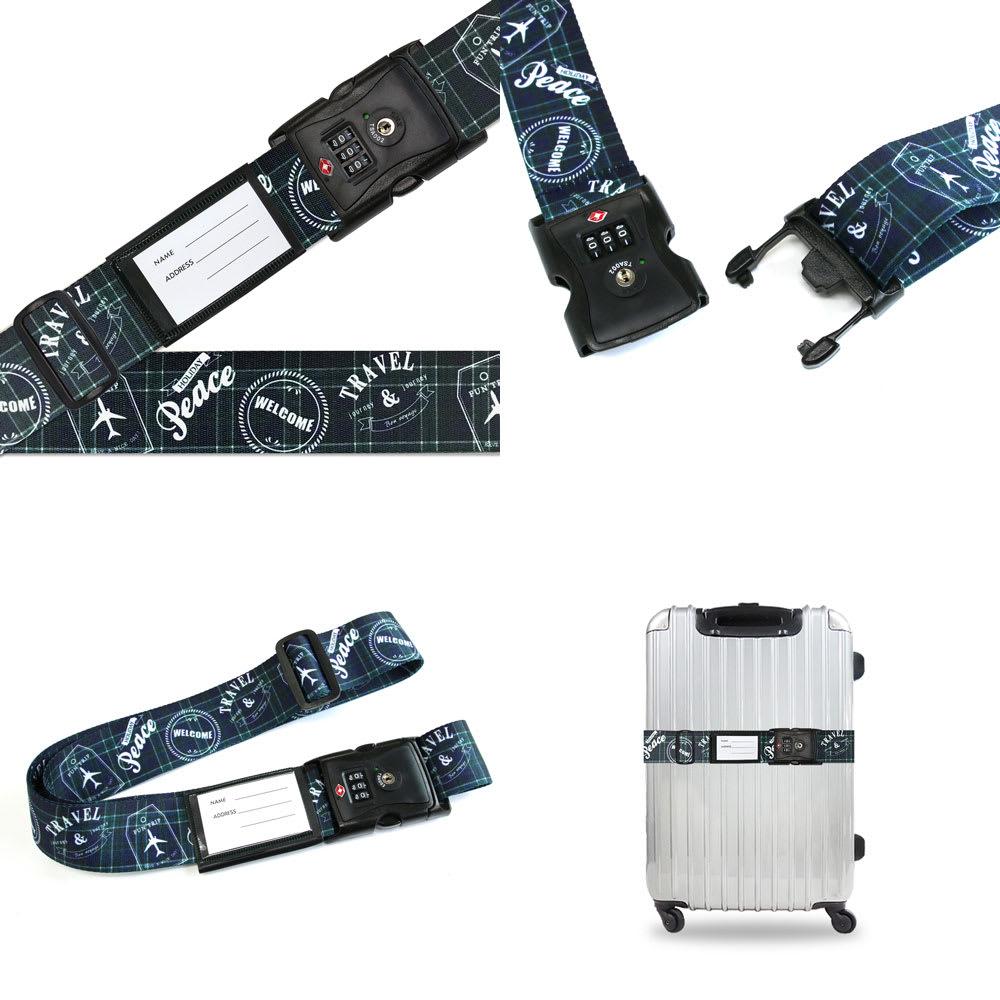 TSAロック付きスーツケースベルト 転写柄 (エ)トラベルチェック柄グリーン