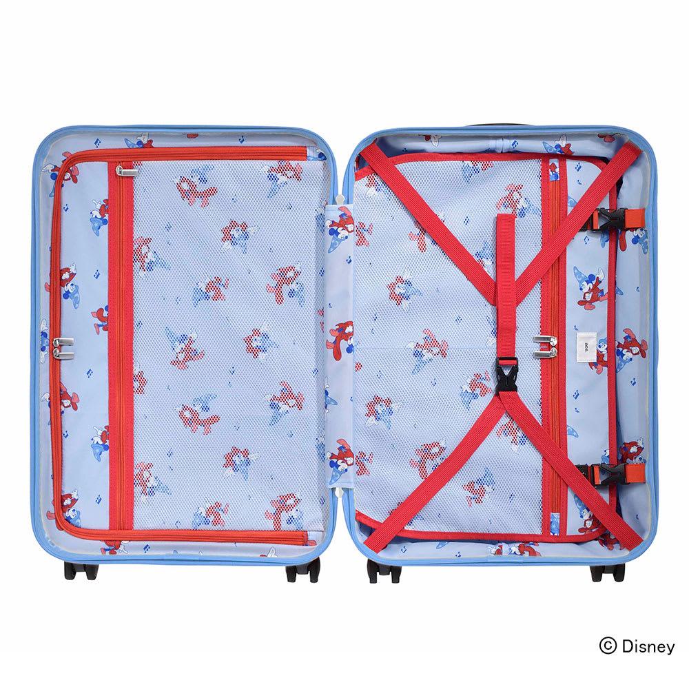 ace.ディズニー映画『ファンタジア』スーツケース 60L/メッシュ素材のポケットは中身も見えて小物の収納に便利です。