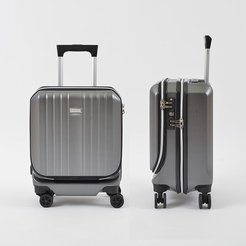 AMERICAN FLYER(アメリカンフライヤー)/ フロントオープン スーツケース キャリーケース・キャリーバッグ 24L…(エ)カーボンブラックFront/Side