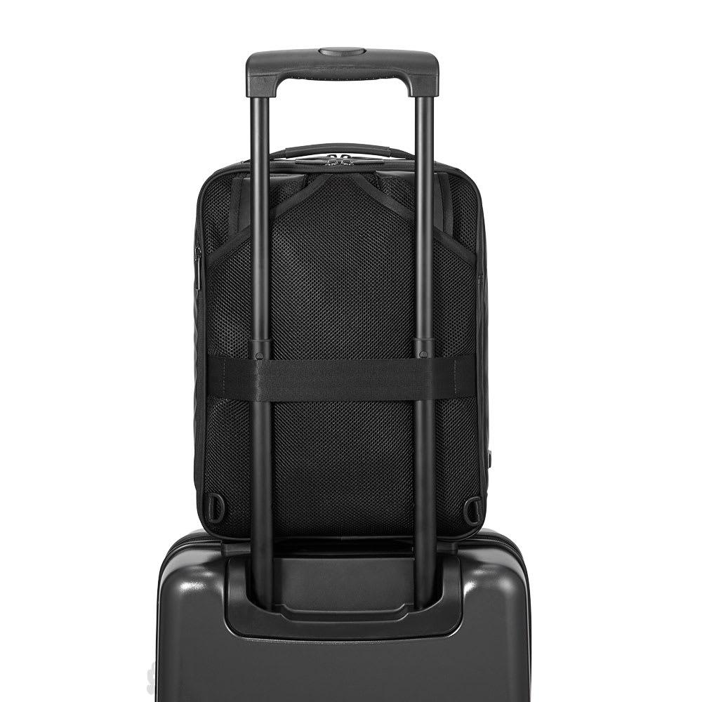 ace.GENE(エース ジーン)/GADGETABLE-WR(ガジェタブル-WR) ビジネスリュック(小) トローリーバッグのハンドルバーに固定して持ち運べるセットアップ機能も搭載。