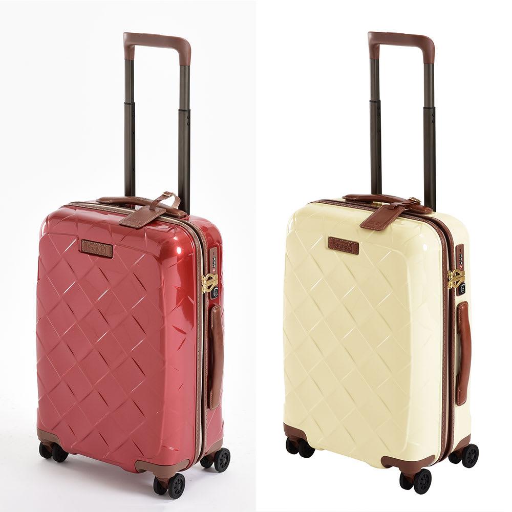 (Lサイズ 4輪/100L/4.36kg)Stratic(ストラティック)/「Leather & More」日本限定版 ハードスーツケース 大型(3-9902-75)|キャリーケース・キャリーバッグ Sサイズ/(イ)カーマインレッド、(ウ)ミルク
