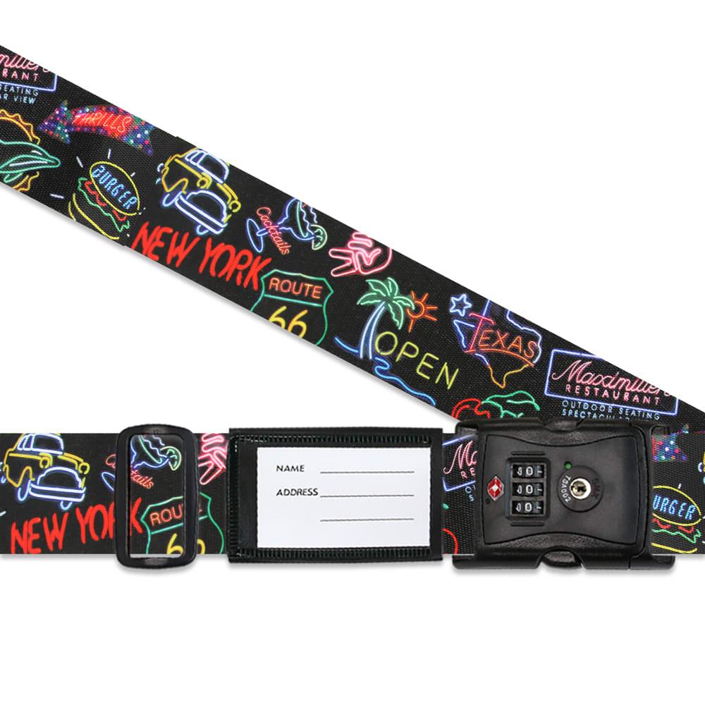 TSAロック付きスーツケースベルト 転写柄(アメリカ旅行の必需品) (イ)ネオン柄