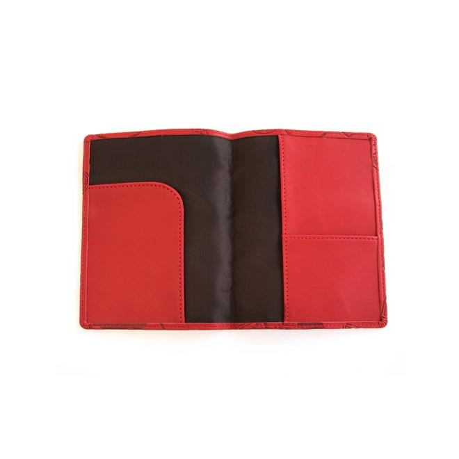スキミング防止機能付き パスポートカバー(パスポートやクレジットカードの不正読み取りを防ぐ) (イ)レッド