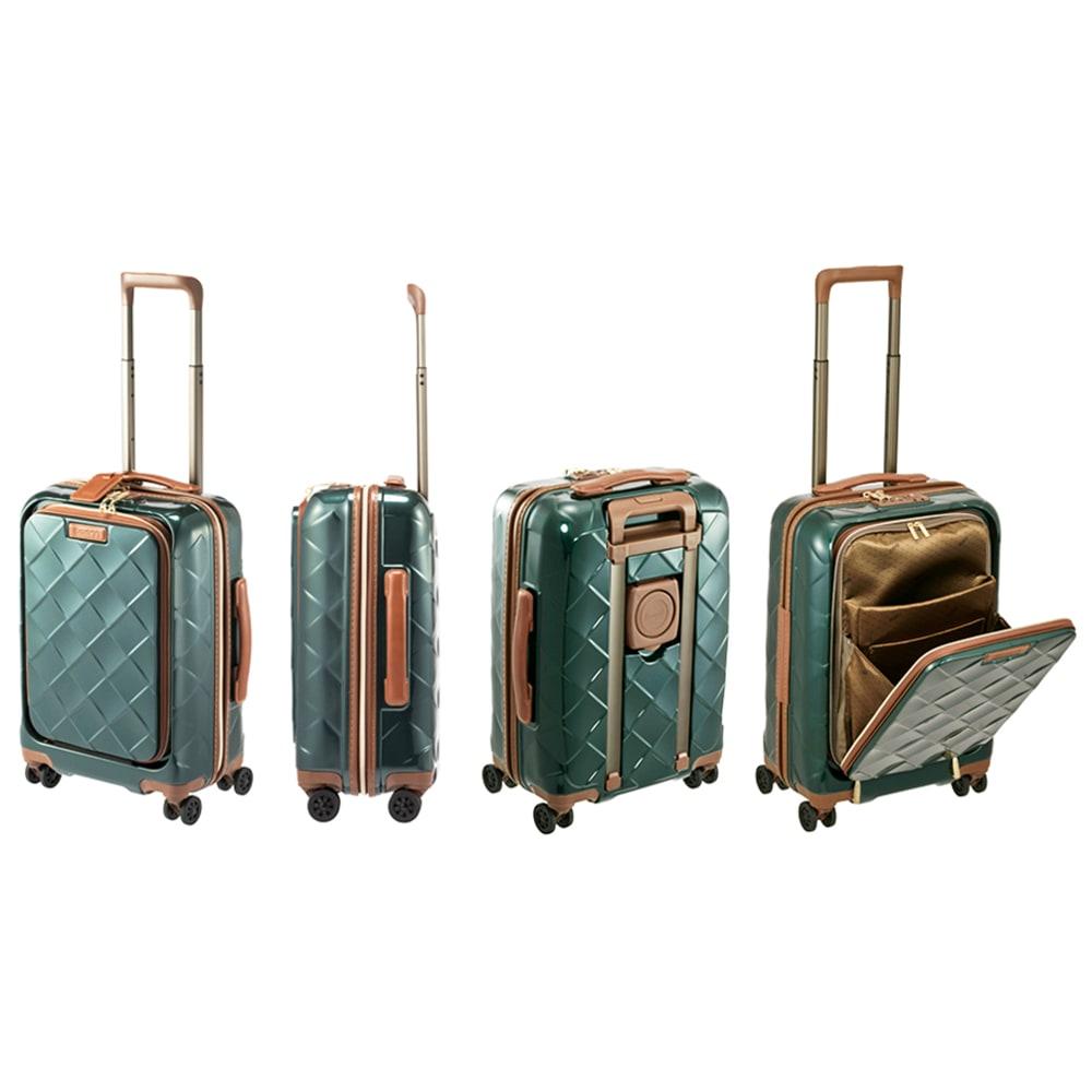Stratic(ストラティック)/ 「Leather&More(レザー&モア)」フロントオープンスーツケース ドリンクホルダー付き 機内持込 4輪 33L 3.30kg キャリーケース・スーツケース (イ)ダークグリーン