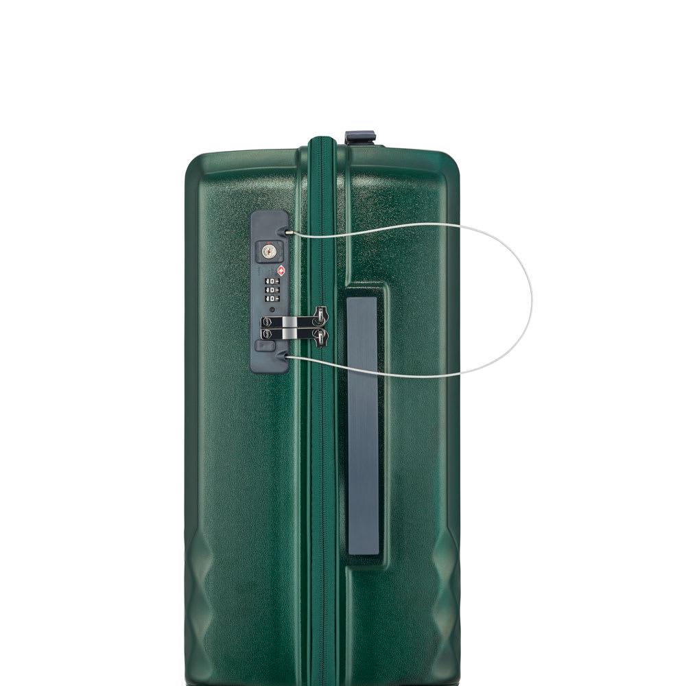 ACE HaNT(ハント)/ソロ ストッパー付スーツケース 32L TSAのダイヤル式ロック。セキュリティ向上のためにワイヤーロックも付いています