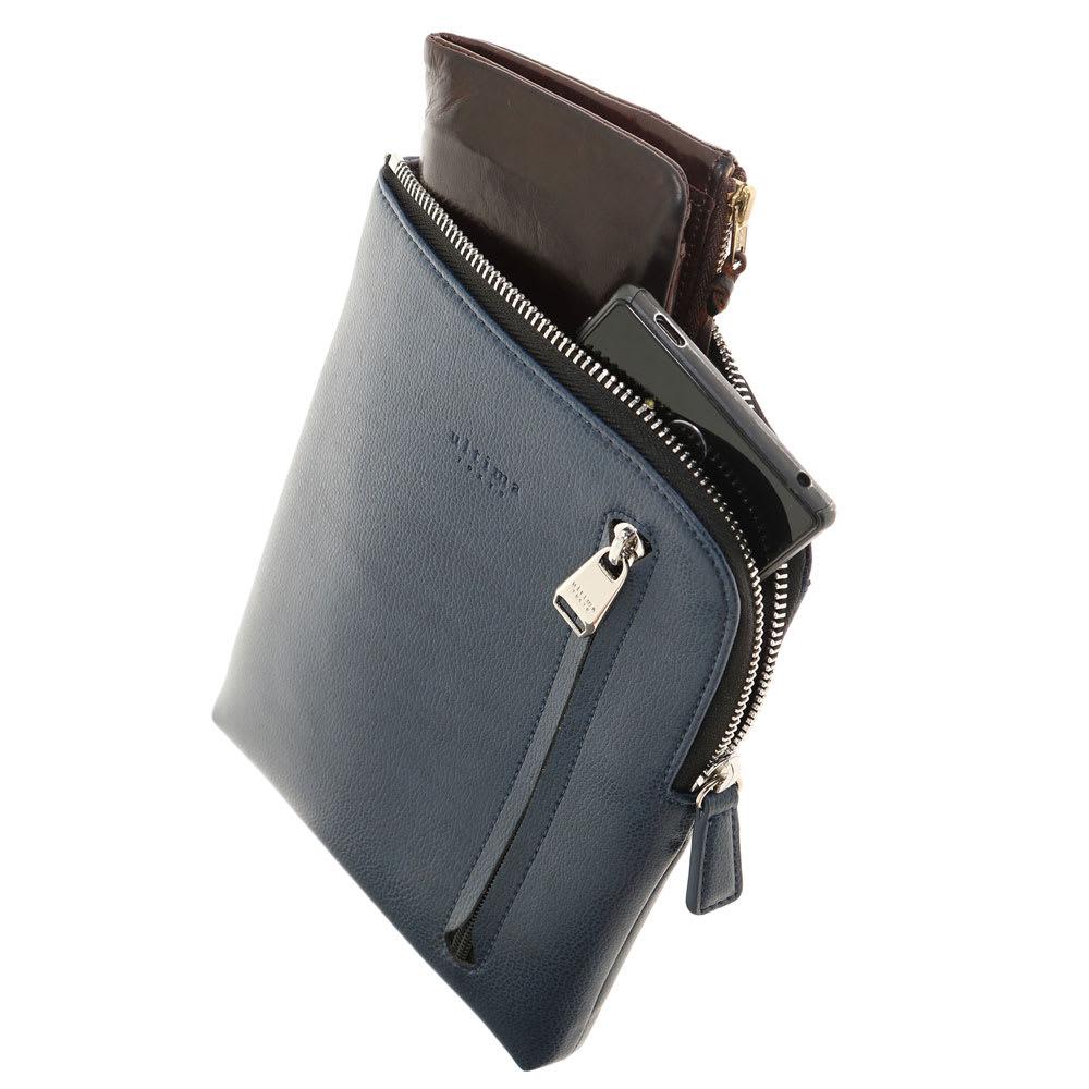 ultima TOKYO(ウルティマ トーキョー)/タテ型・薄マチショルダーバッグ ベルトを外してバッグインバッグとしてもご使用頂けます