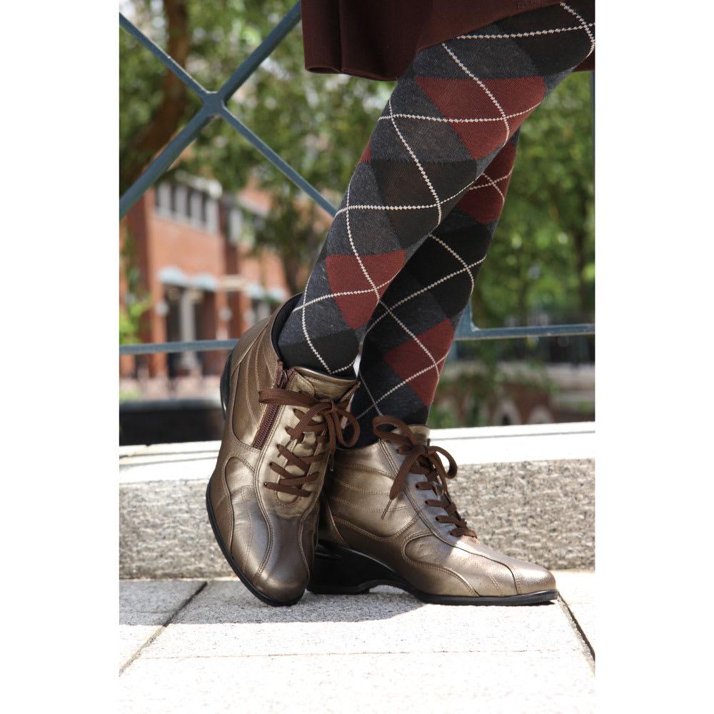神戸シューズ 時見の靴/牛革エアーヒールショートブーツ