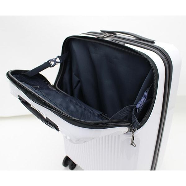 グリーンワークスハードジッパーケース 上パカ機能でスーツケースを広げなくても物を取り出せます