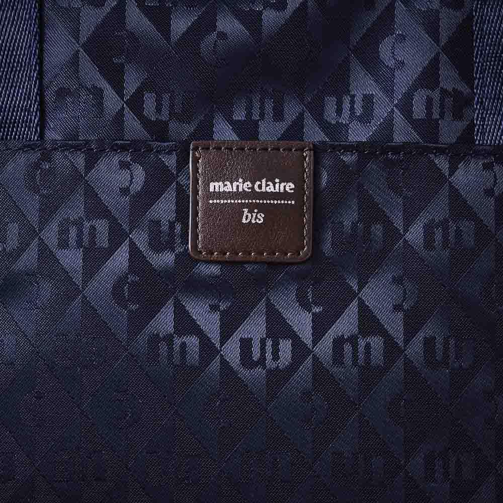 marie claire bis(マリ・クレール ビス)/ファセット 横型コンパクトショルダー (イ)ネイビー…生地アップ