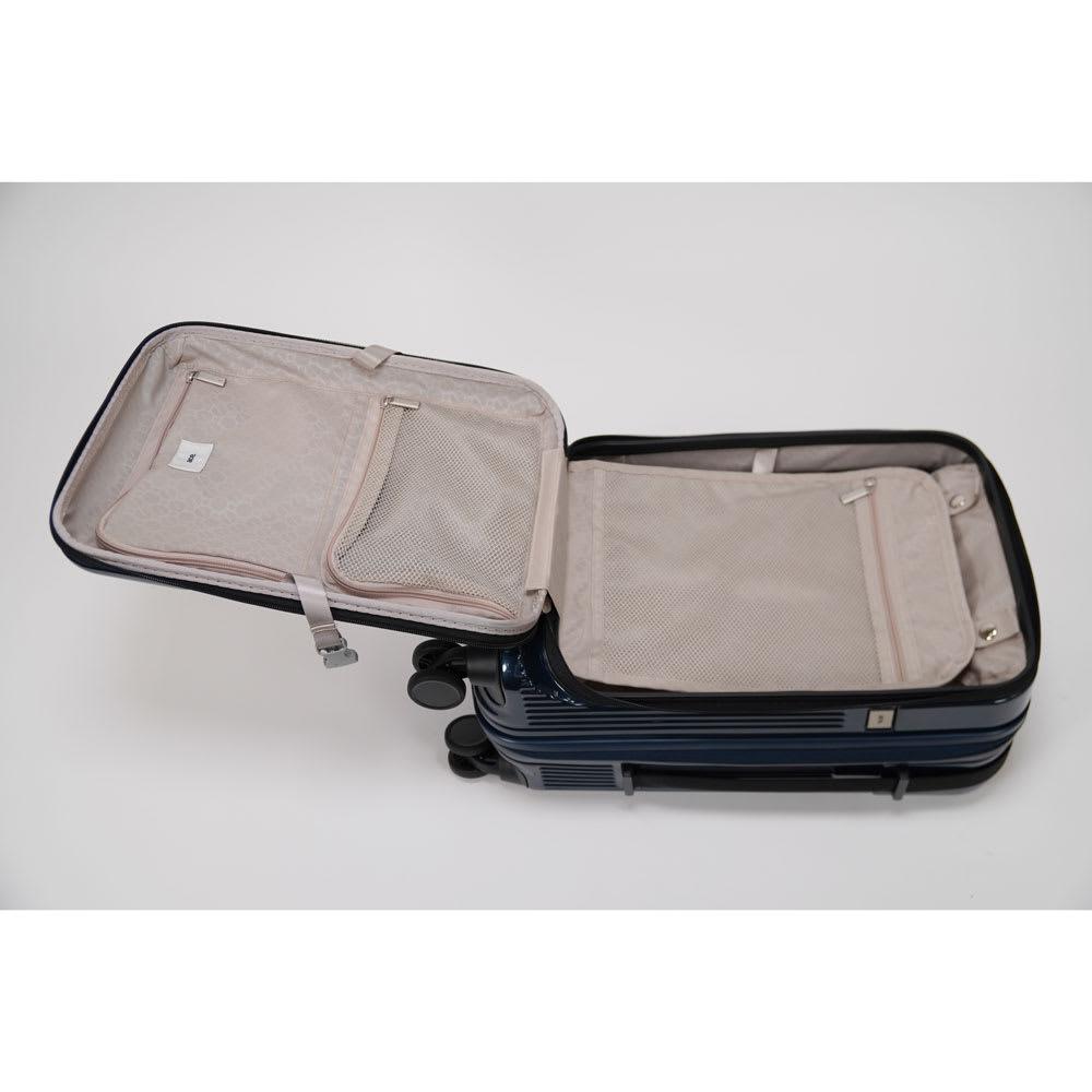 ace.(エース)/ロカベル 小型コインロッカーに入るスーツケース 26L フタ裏や仕切りにはファスナーポケット付き