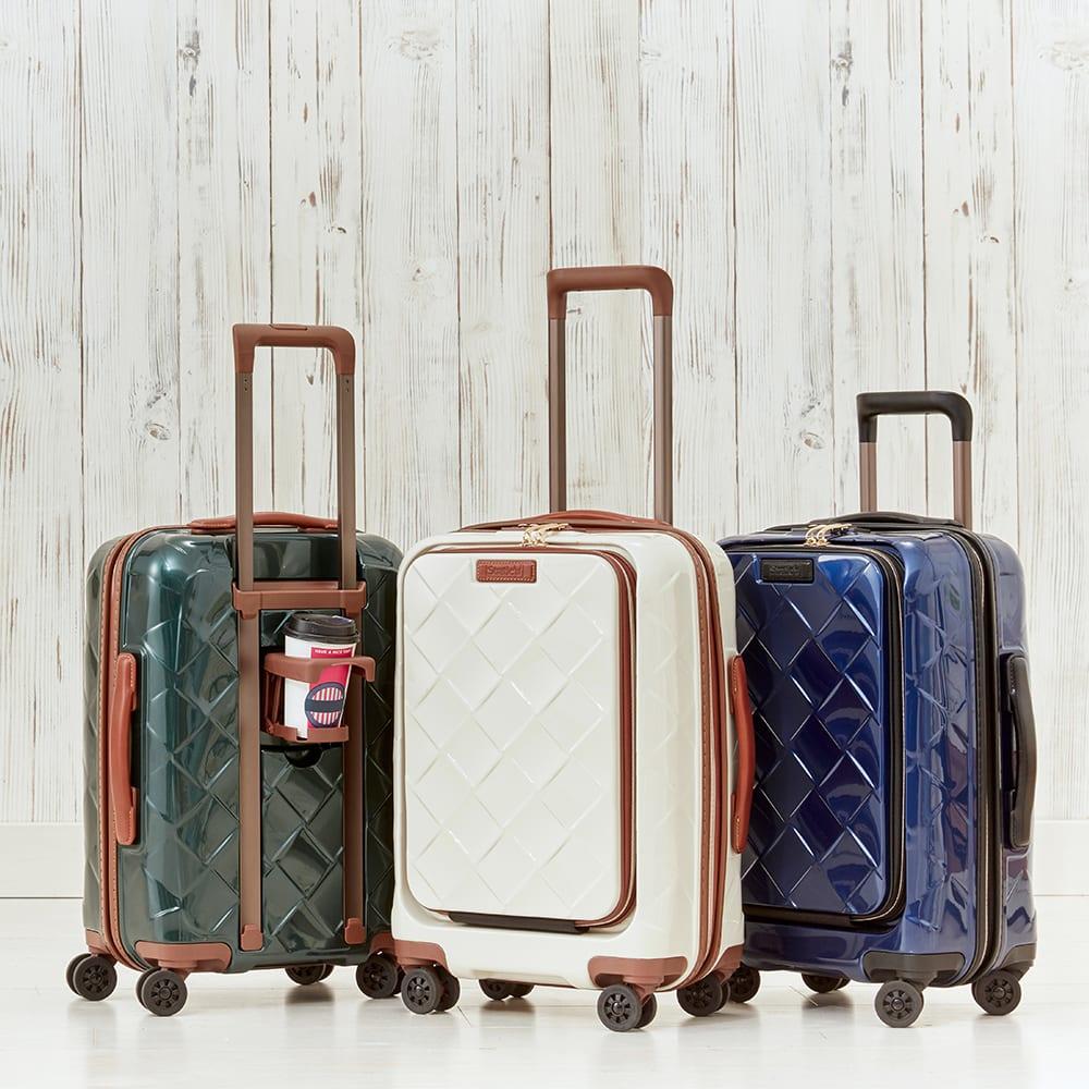 Stratic(ストラティック)/ 「Leather&More(レザー&モア)」フロントオープンスーツケース ドリンクホルダー付き 機内持込 4輪 33L 3.30kg|キャリーケース・スーツケース ネイビーブルー/ダークグリーン/ミルク スーツケース(ハードタイプ)