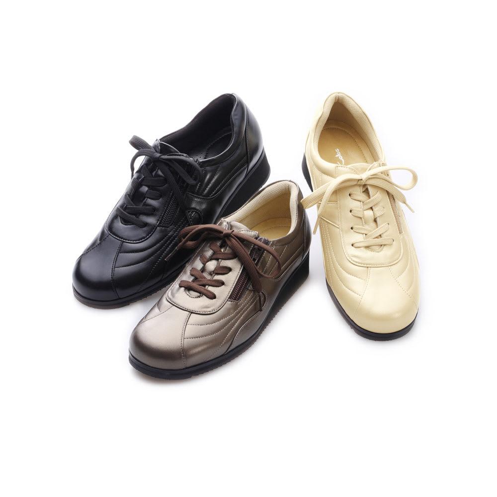 神戸シューズ 時見の靴/ウォーキングシューズ ウエッジソール 左から(ア)ブラック、(イ)ブロンズ、(ウ)パールベージュ