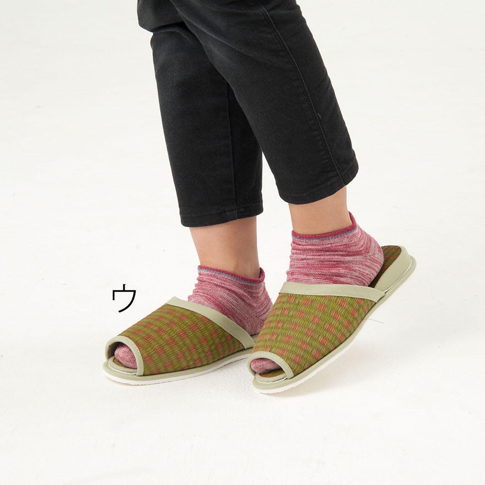 添島勲商店/い草 ロッタ スリッパ(対応約22~25cm) 着用イメージ