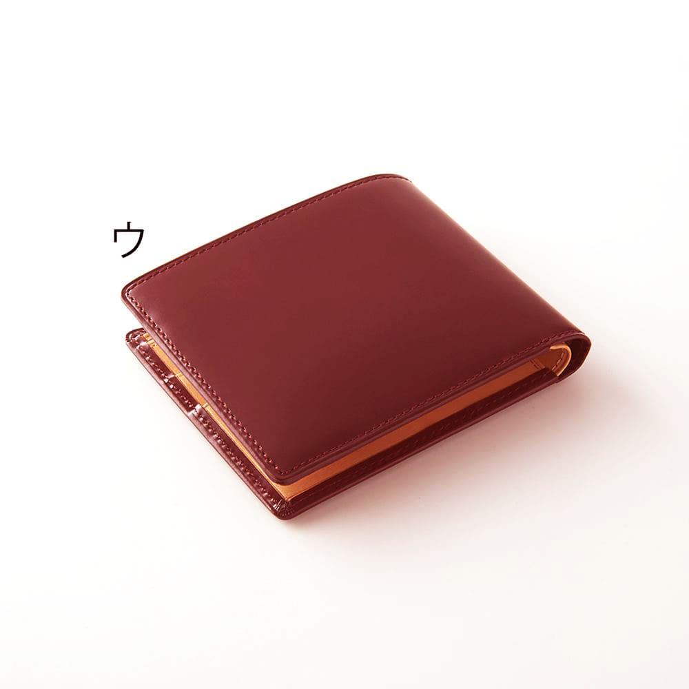 松坂レザー 二つ折れ革財布 (ウ)ボルドー