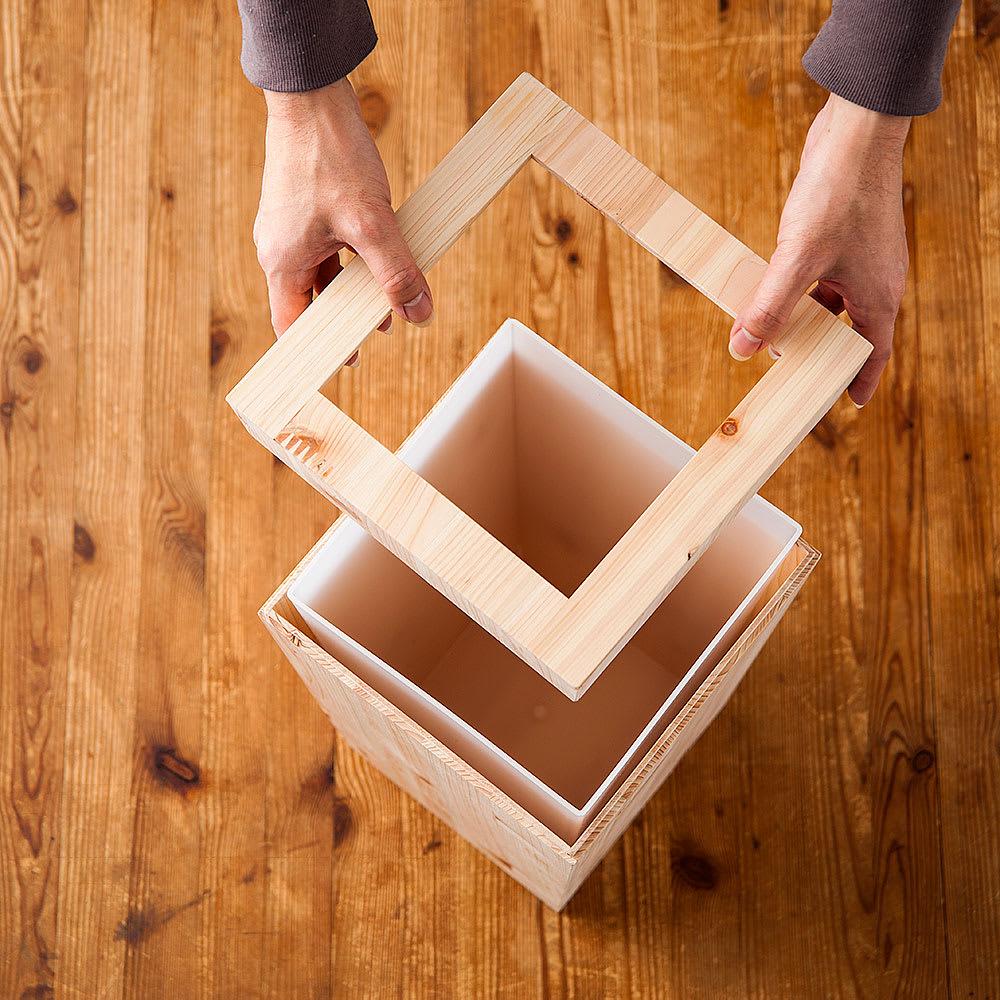 橋本達之助工芸/紀州檜天然木 ダストボックス Lサイズ(樹脂製ボックス付き)|ゴミ箱 ポリ袋のセッティングには、上部のフタを外します