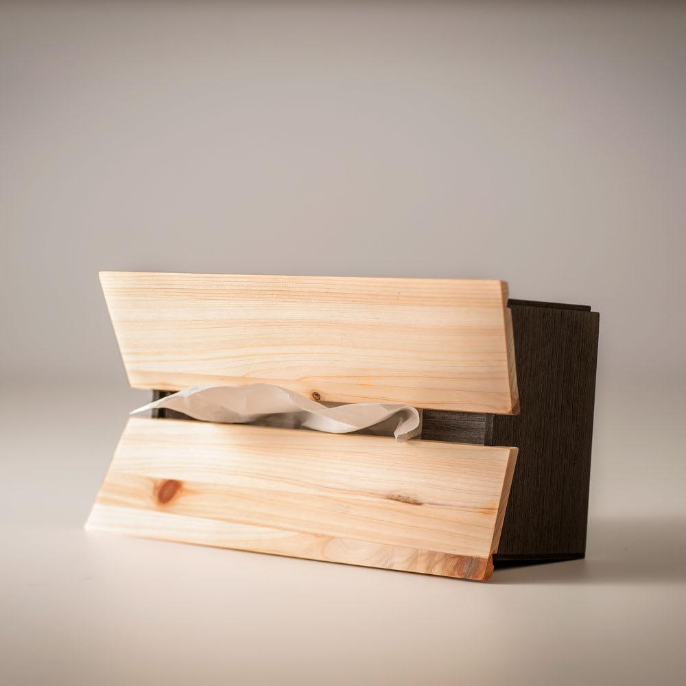 橋本達之助工芸/国産 紀州檜天然木 3WAYティッシュケースボックス 横置き時…少し高めの場所に設置するときに便利な横置き