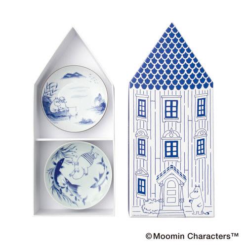 amabro(アマブロ)/MOOMIN×amabro SOMETSUKE 有田焼丸皿5枚セット 専用BOX付き とんがり屋根のムーミン屋敷を形どったオリジナルパッケージ仕様
