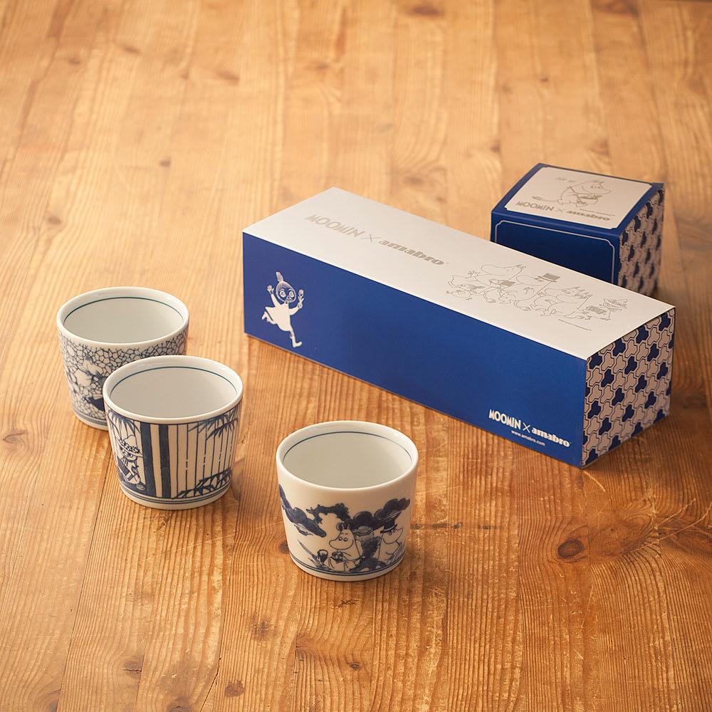 amabro(アマブロ)/MOOMIN×amabro SOMETSUKE 有田焼猪口3個セット BOX付き ギフトに嬉しいデザイン性のあるパッケージ付き