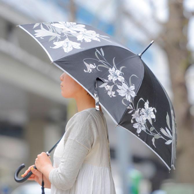 創業1866年槙田商店/ジャカード織 晴雨兼用長傘(UVカット加工) 絵おり 百合/黒
