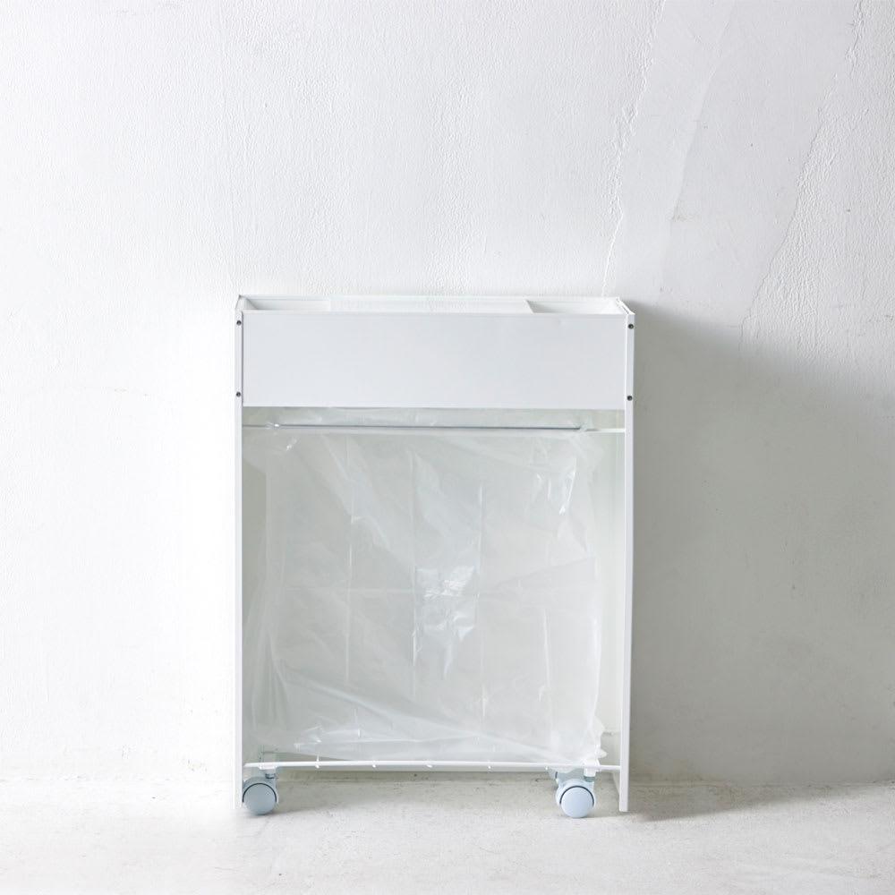 FRAMES&SONS(フレームズアンドサンズ)/SLANT ダストボックス45L(2分別対応可) 裏面:1分別では45Lのごみ袋が設置可能