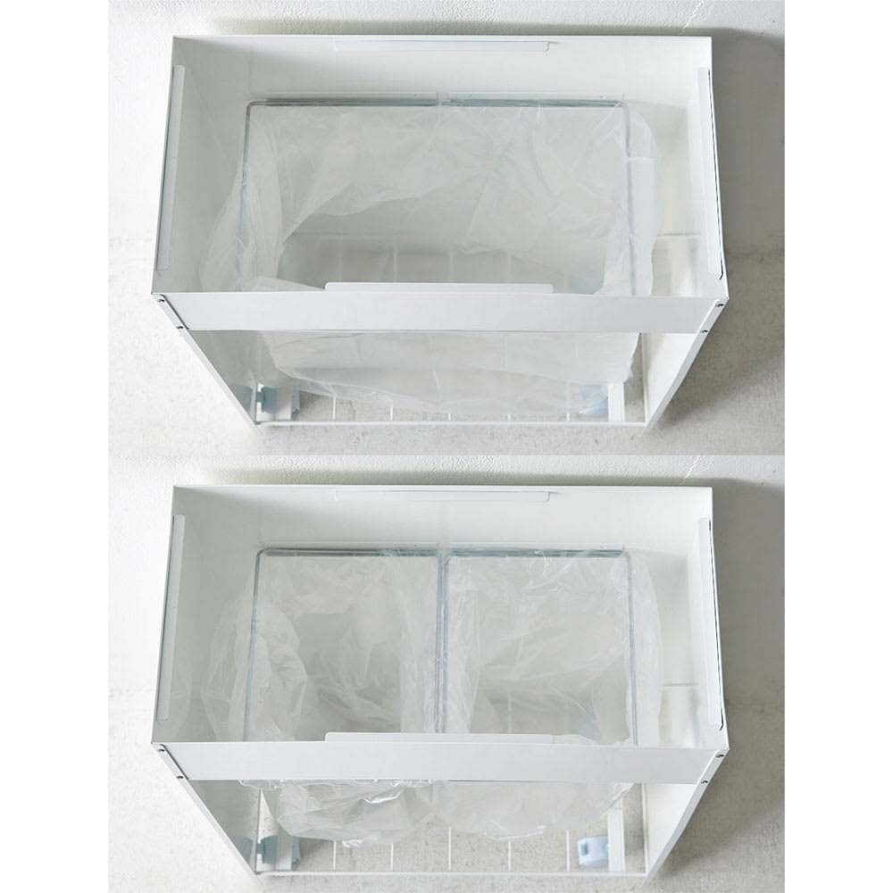 FRAMES&SONS(フレームズアンドサンズ)/SLANT ダストボックス45L(2分別対応可) 袋枠は、1分別用×1、2分別用×2をご用意しています。お好みで設置が可能