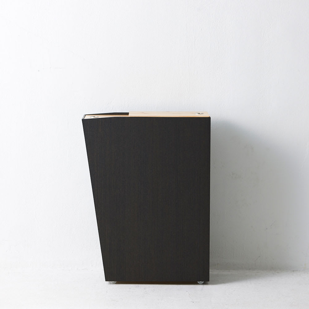 橋本達之助工芸/紀州檜天然木リビングダストボックス容量45L(2分別対応可能)|ゴミ箱 側面:手前はスマートに見えるよう傾斜をつけています