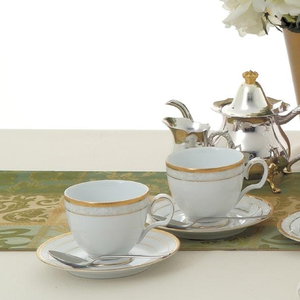 Noritake(ノリタケ)/ハンプシャーゴールド ティー・コーヒーカップ&ソーサー ペアセット (2客組)|洋食器