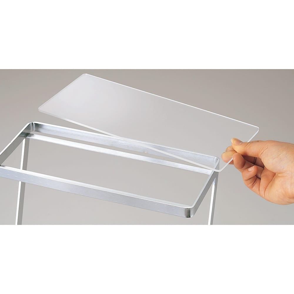 FRAMES&SONS(フレームズアンドサンズ)/ステンレススパイスラック 2段 アクリル板は外して洗えます。