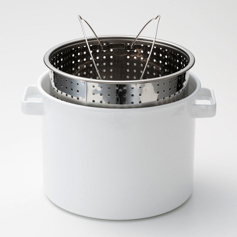 小泉誠・kaico(カイコ)/ホーロー(琺瑯)パスタパン パスタ網は湯切りに便利です