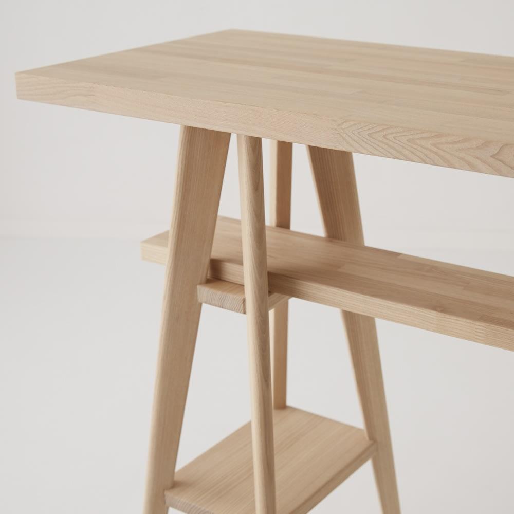 国産タモ天然木オーダーカウンタテーブル 幅170cm 天板下には棚板があり、本やPCなどの収納スペースに
