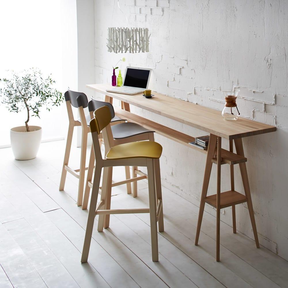 国産タモ天然木オーダーカウンタテーブル 幅180cm カフェ風のカウンターテーブルが簡単に設置できます