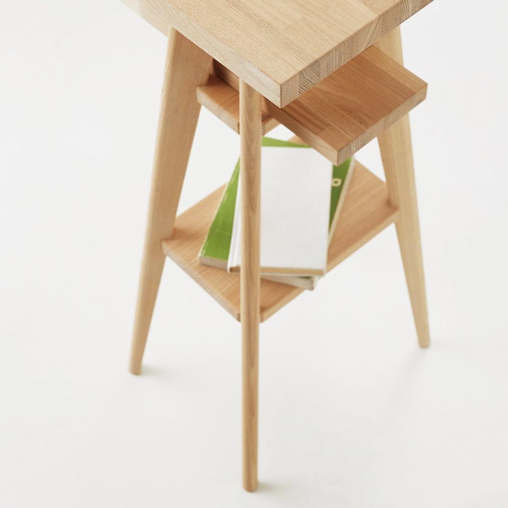 国産タモ天然木オーダーカウンタテーブル 幅220cm 脚部の中段は飾り棚としても使えます。
