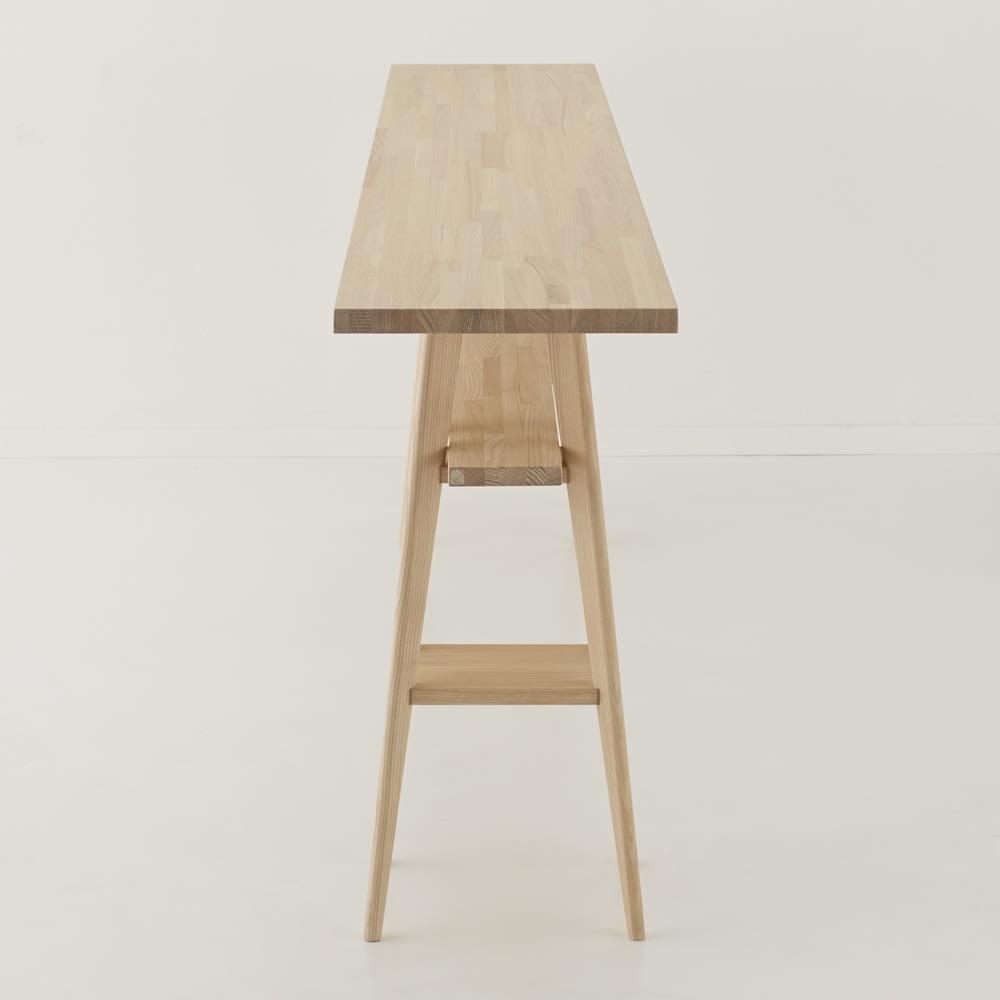 国産タモ天然木オーダーカウンタテーブル 幅220cm 奥行スリムな省スペース設計