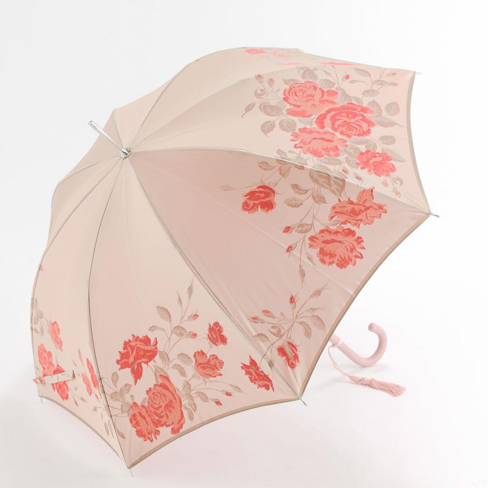 創業1866年槙田商店/ジャカード織 晴雨兼用長傘(UVカット加工) 絵おり 薔薇