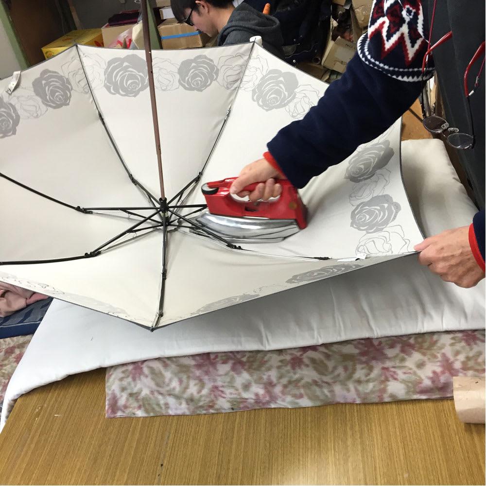 創業1866年槙田商店/ジャカード織 晴雨兼用長傘(UVカット加工) 絵おり 大薔薇 丁寧にアイロンがけまで