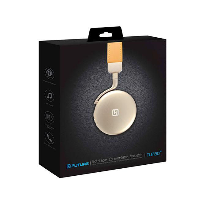 Bluetoothヘッドフォン TURBO2 (イ)ゴールド/パッケージ