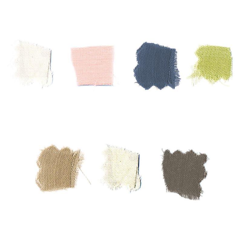 Fab the Home(ファブザホーム)/ダブルガーゼ ボックスシーツ 上段(左から):(ア)ホワイト、(イ)シェルピンク、(ウ)インディゴ、(エ)ピスタチオ、下段(左から)(オ)クミン、(カ)ミルク、(キ)スレート