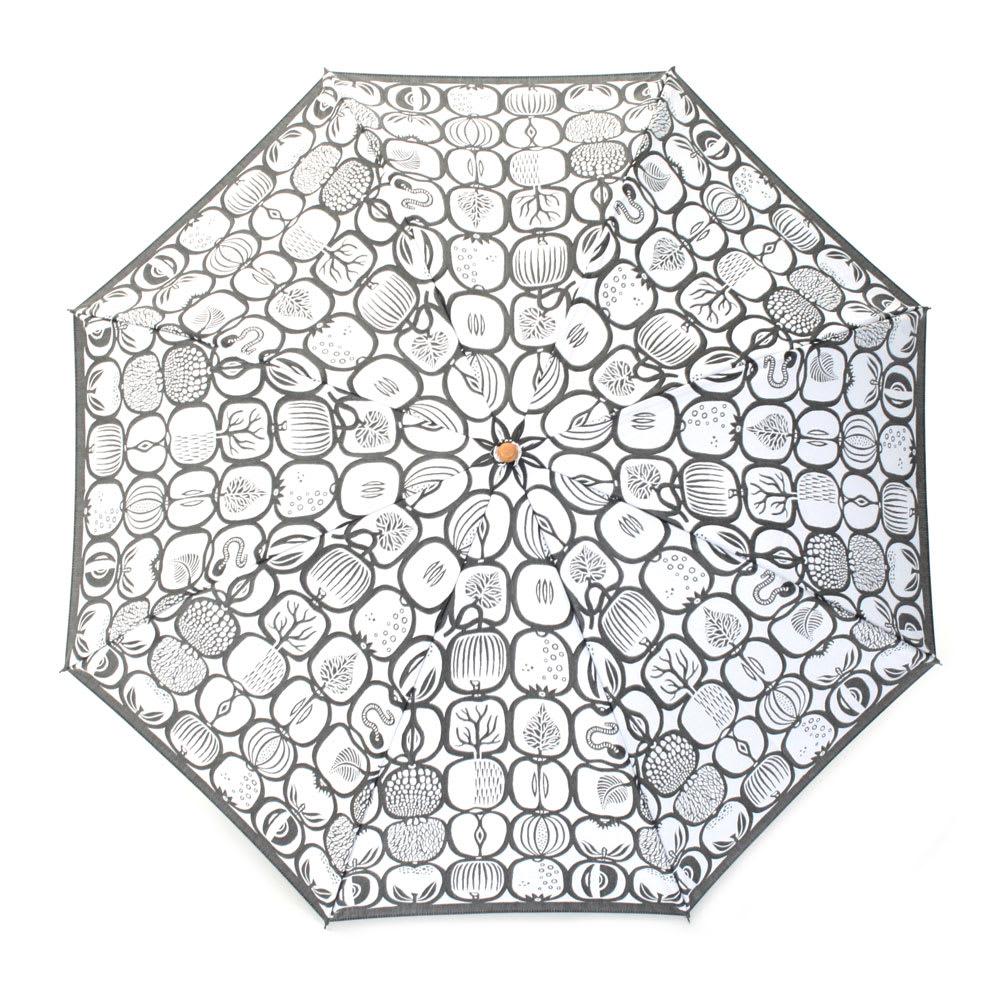 槇田商店 スティグ・リンドベリ フルーツバスケット 折りたたみ傘 (ウ)シロ×クロ