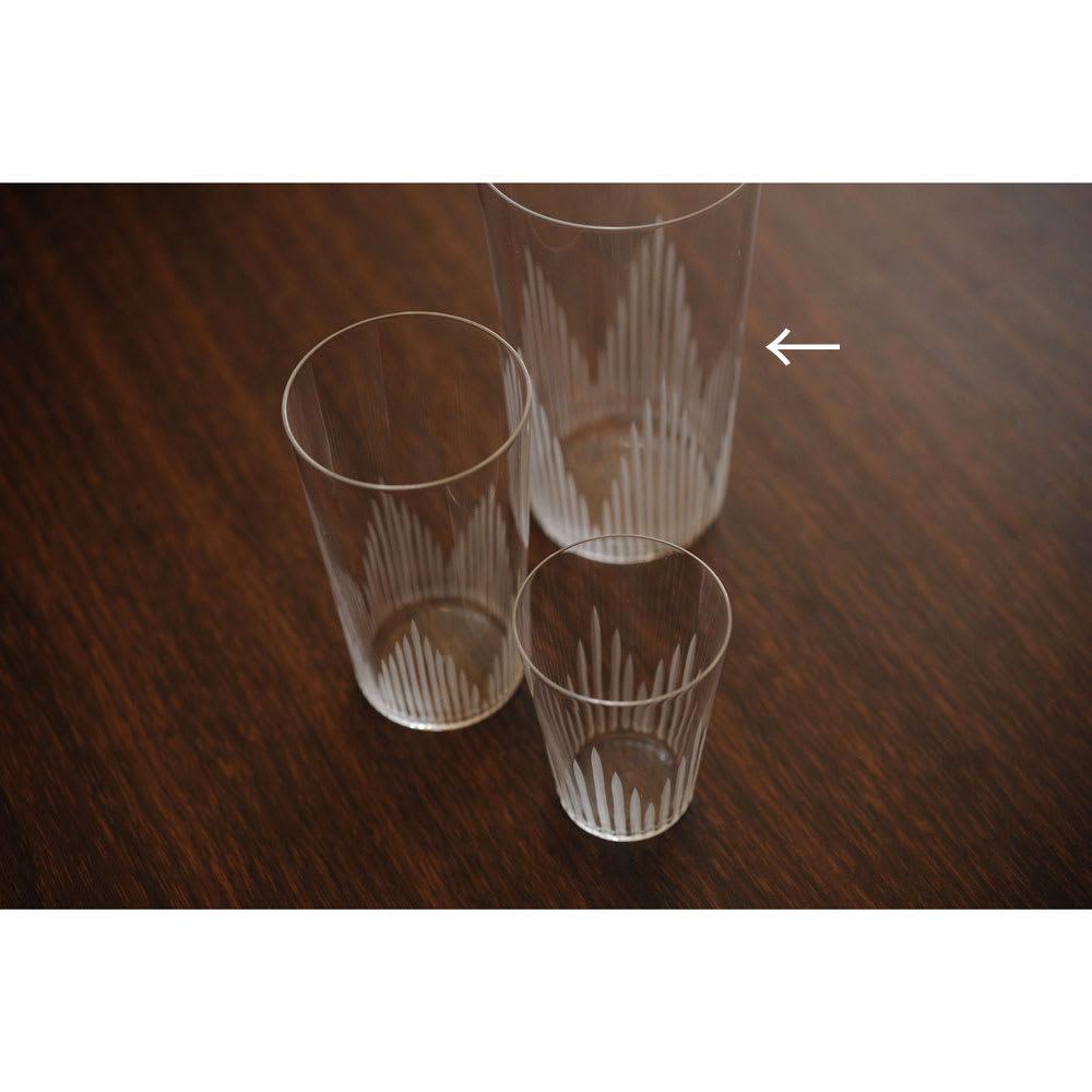 廣田硝子(ヒロタガラス)/東京復刻ガラス BRUNCH 千本 10オンスタンブラー 奥のサイズが10オンスです