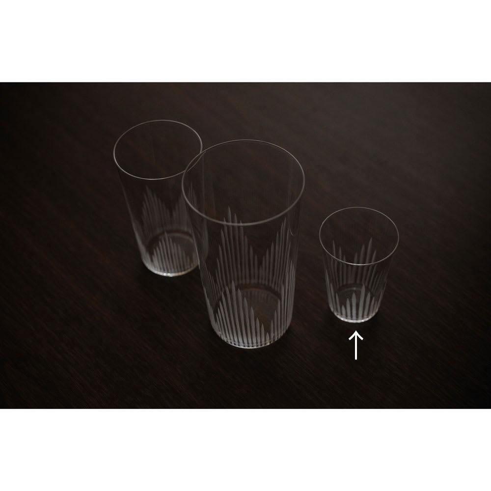 廣田硝子(ヒロタガラス)/東京復刻ガラス BRUNCH 千本 2オンスタンブラー 左から5オンス(NV4610)、10オンス(NV4609)