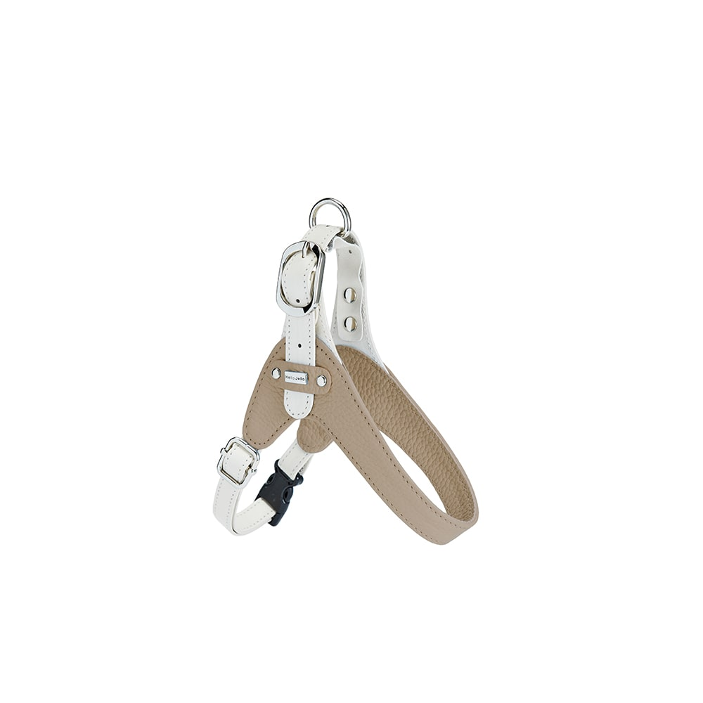 イタリア本革 犬用ハーネス Sサイズ (イ)グレー/ホワイト