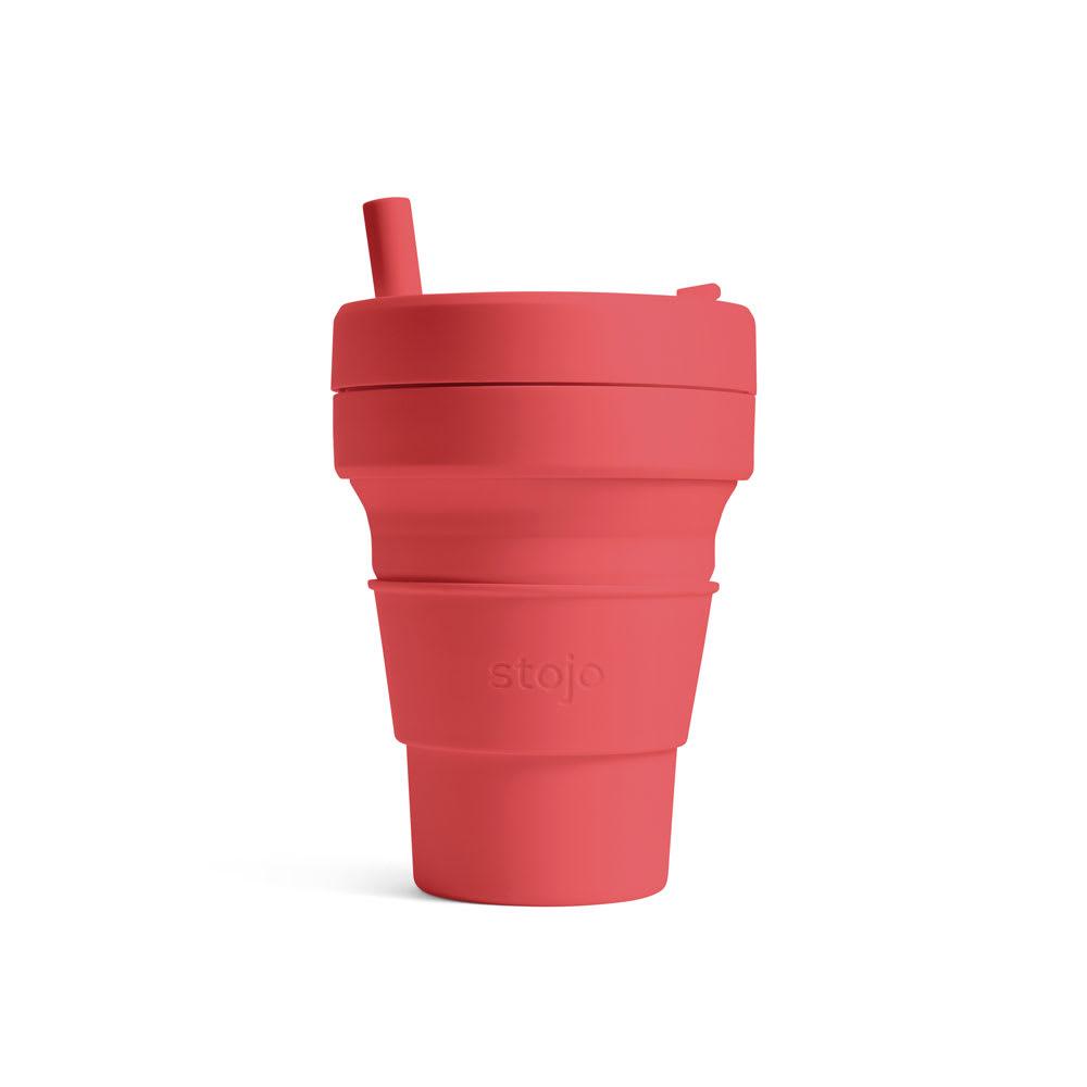 stojo BIGGIE 470ml 折り畳みマイカップ/マイタンブラー (ア)CORAL(ピンク)