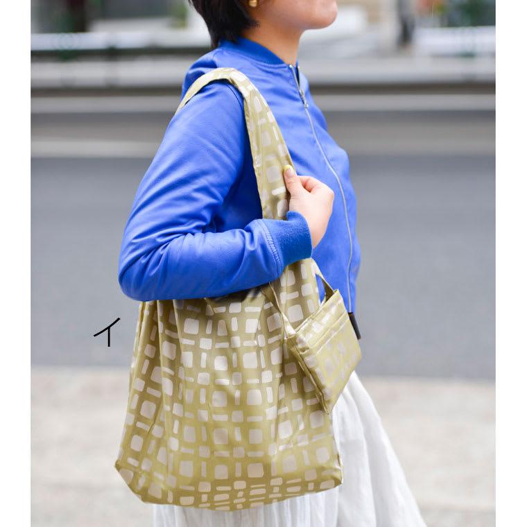 創業1866年槙田商店/傘生地を使ったポータブルバッグ(エコバッグ) ジャカード織 スクエアドット柄